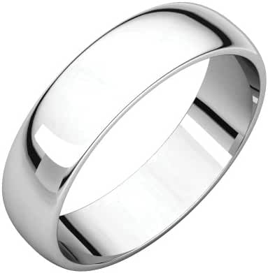 Platinum 5mm Half Round Light Band, Ring Size 8.5