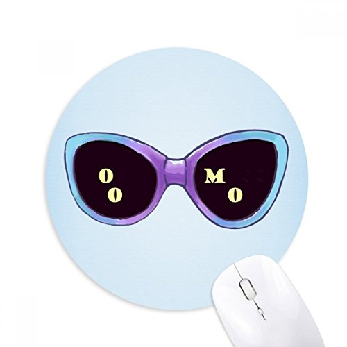 Colorized Illustration Pattern Sun Glasses Round Non-Slip Rubber Mousepad Game Office Mouse Pad - Illustration Sunglass