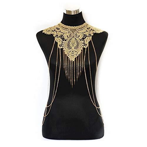 JoJo & Lin Gold Fine Chain Flower Lace Body Chain Bikini Necklace Jewelry (C) -