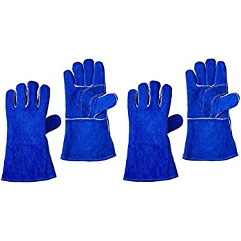 "14/"" US Forge 400 Welding Gloves Lined Leather Blue"