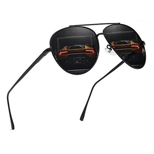 Premium Military Polarized Aviator Sunglasses Metal Frame Brand Unique Design Sun glasses For Mens Womens 100% UV Protection (Black Frame/Gray Lens, 58) (Polarized Aviator Shades)