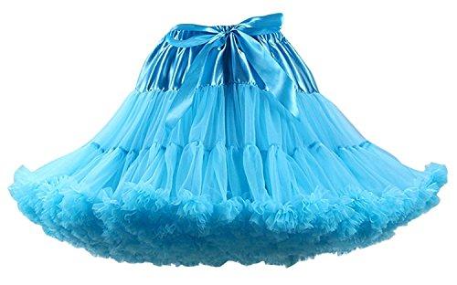 Soie Femmes Doux Skyblue Jupe Tulle Tutu Layer Costume Jupe de Danse Puffy Petticoat Adulte Luxueux FOLOBE Tutu Mousseline Ballet Multi 6Pwd8