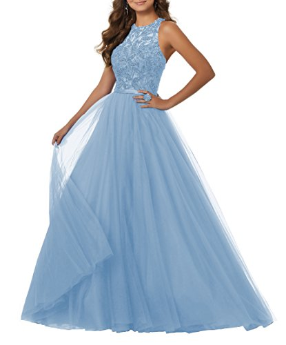 Women's A-line Beaded Soft Net Evening Prom Dress Long Formal Party Gown Racer Back Size 4 Ice Blue