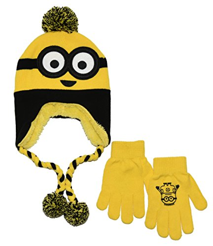 [Despicable Me Minion Style Laplander With Glove Set (OS, Yellow)] (Despicable Me Minion Hats)