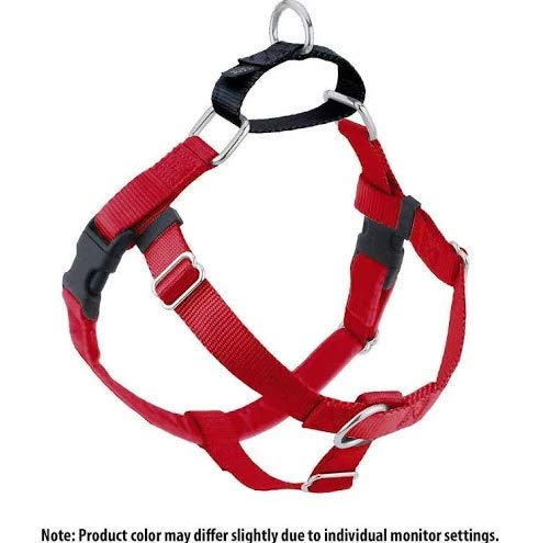 2 Hounds Design Freedom No-Pull Dog Harness and Leash, Adjustable Comfortable Control for Dog Walking, Made in USA (Medium 1'') (Red) by 2 Hounds Design
