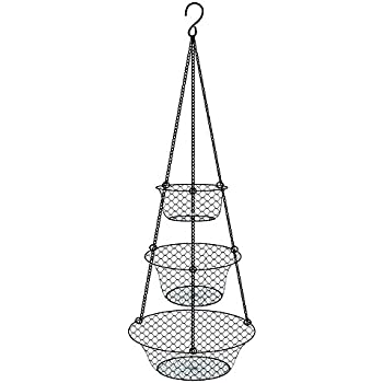 Three Tier Wire Fruit Basket Hanging Basket And Organizer, Vegetable  Container