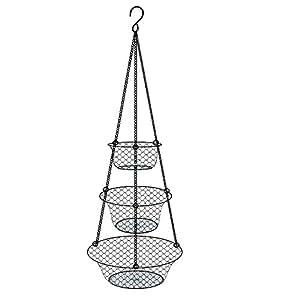 Tai-ying 3 Tier Wire Hanging Fruit or Vegetable Kitchen Storage Basket,Black
