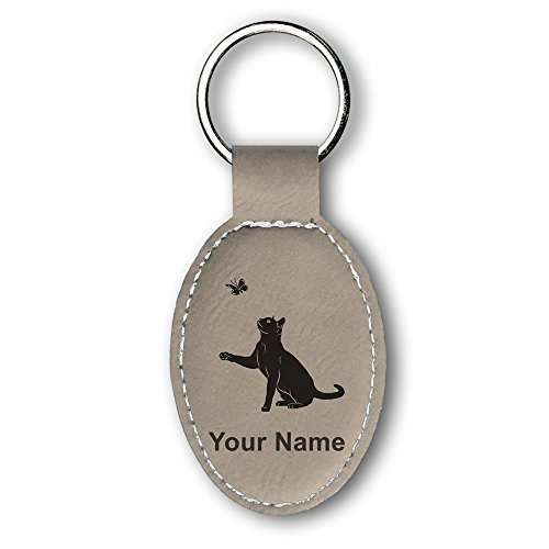 (Oval Keychain, Cat with Butterfly, Personalized Engraving Included (Light Brown))