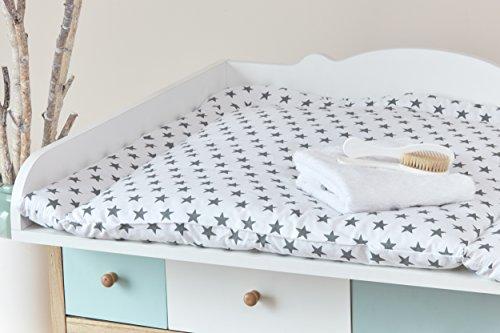 KraftKids Wickelauflage graue Sterne auf Weiss breit 60 x tief 70 cm passend für z. B. Waschmaschinenaufsatz