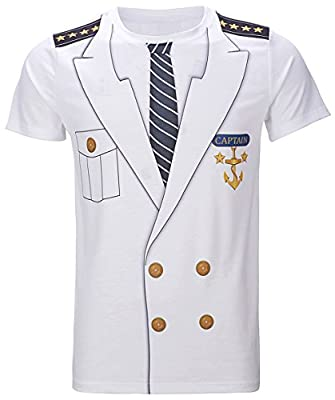 Funny World Men's Captain Costume T-Shirts