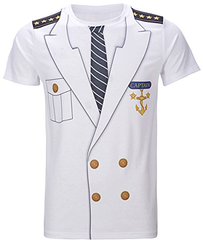 Funny World Men's Captain Costume T-Shirts (XL)