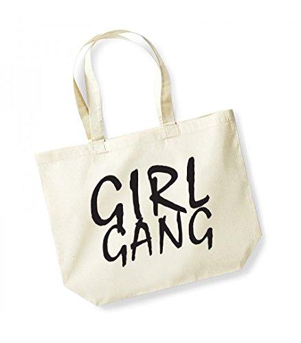 in unisex Natural di black Tote tela cotone slogan Girl Bag Gang aYnq5