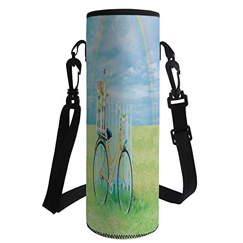 iPrint Water Bottle Sleeve Neoprene Bottle Cover,Bicycle,Nostalgic Bike on The Grass Above The Colored Rainbow Dreamy Paradise Nature,Light Green Blue,Fit for Most of Water Bottles by iPrint
