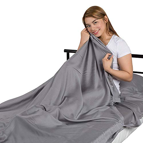 Tripley Luxury Travel Sheet, Sleeping Bag Liner, Softer Than Silk, Cooler Than Cotton, 100% Satin Weave Tencel Lyocell from Sustainably Sourced Eucalyptus (Moonlight Gray) ()