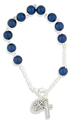 One Decade Rosary Bracelet with Clasp and Pearlized Beads (Dark Blue)