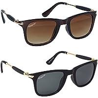 ELEGANTE Wayfarer UV Protected Men's Sunglasses Combo (Black, Brown, 55)