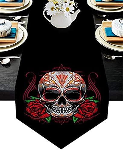 DTKJ Cotton Linen Rectangle Table Runners Skull and Red Rose Party Supplies Decorations for Holiday Wedding Birthday Baby Shower(16x72inch)