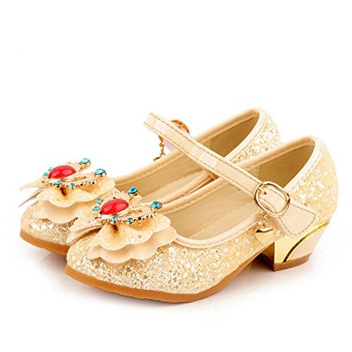 HBOS Kinder Mädchen Prinzessin Schuhe mit Schmetterling Shoes Champagne