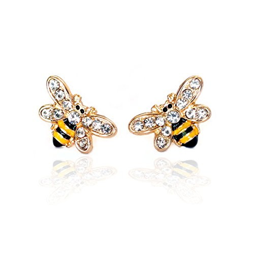 Gold Enameled Bumble Bee - Tiny Golden Enameled Bumble Bee Post Earrings with Crystal Detail [Bee Conservation Awareness]