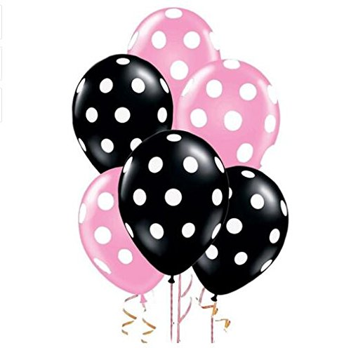 (Sopeace 12 Inch Latex Balloons with White Polka Dots,  Pink & Black)