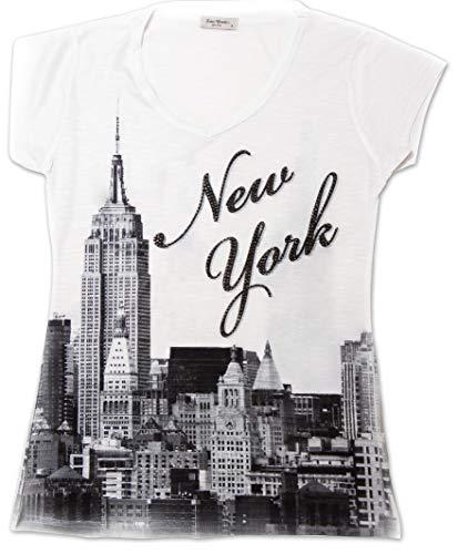 New York Skyline V Neck T-Shirt for Women with Rhinestone (Medium, White)