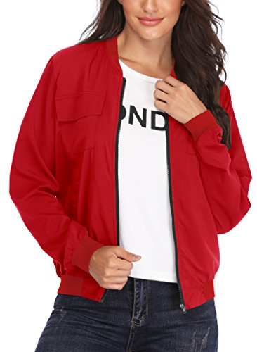 MISS MOLY Women's Multi-Pocket Zip Long Sleeves Lightweight Bomber Jacket Red XS - Multi Pocket Zip