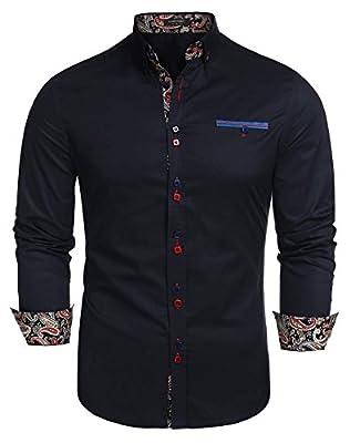 JINIDU Men's Business Casual Long Sleeve Patchwork Shirt Slim Fit Button Down Dress Shirts