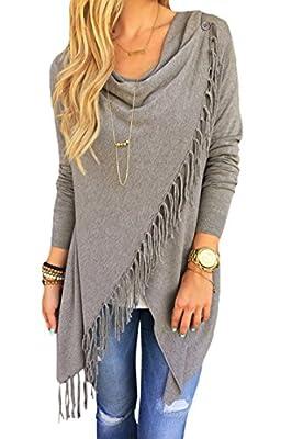 SEXYARN Women's Tassel Hem Crew Neck Knited Sweater Coat Outwear