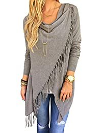 SEXYARN Women's Tassel Hem Crew Neck Knited Sweater Coat...