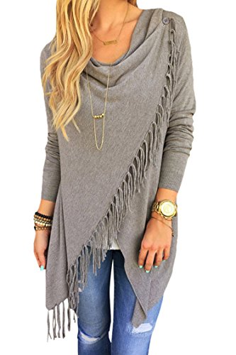 Viottis Women's Tassel Hemn Open Front Blouse Coat Outwear Top 1-Gray M