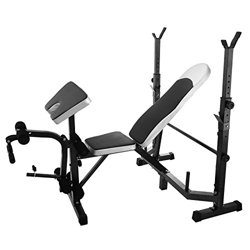 Popsport 660LBS Weight Lifting Bench Multi Station Weight Bench Press Leg Curl Home Gym Weights Equipment Adjustable Workout Bench for Home Fitness by Popsport