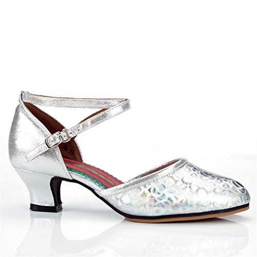 DE de BYLE Modern Jazz Alto Latino tacón Adulto Cuero Goma Blando Baile Sandalias Mujeres Samba Zapatos Plata Tobillo de de los de Fondo Suela Zapatos de Zapatos cm de de Onecolor 5 Danza Baile 3 8XIrAq8