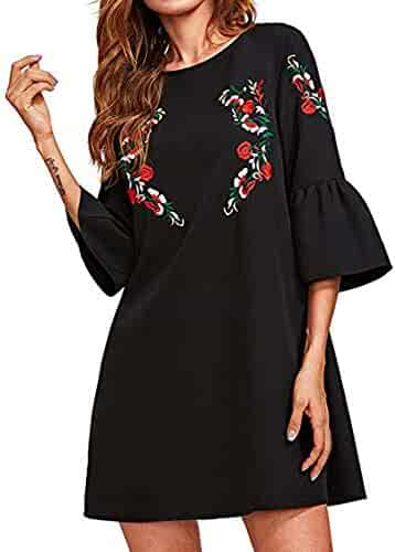 ffc3e53a Women Dresses, Women's Casual Dress Autumn Women's Bell Sleeve Mini Dress  Embroidered Tunic Casual Dresses