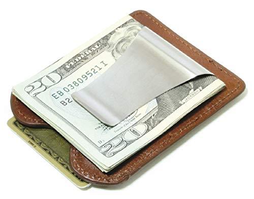 Storus Smart Money Clip Leather, Slim Stainless Steel Money Clip + Italian Leather Wallet, Cognac Brown, Engravable, for Men, Women, Students, Gift 1pc ()
