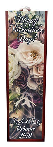 Jacks Outlet Happy Valentine's Day! Vintage Style Roses Wine Box Personalized - Wine Box Rosewood with Slide Top - Wine Box Holder - Wine Case Decoration - Wine Case Wood - Wine Box Carrier ()