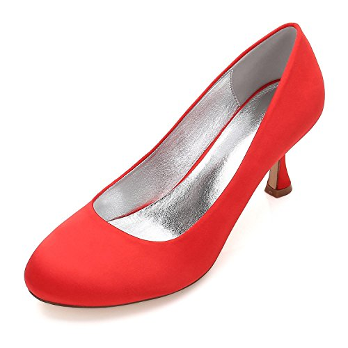 L@YC Boda de Las Mujeres 17061-25 Peep Toe Clips Bombas Zapatos de La Corte Zapatos de La Boda Zapatos de Novia de La Boda Red