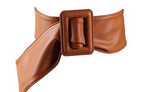 Aecibzo Soft PU Faux Leather Obi Belt Vintage Wide Cinch Waist Belt with Buckle (Brown)