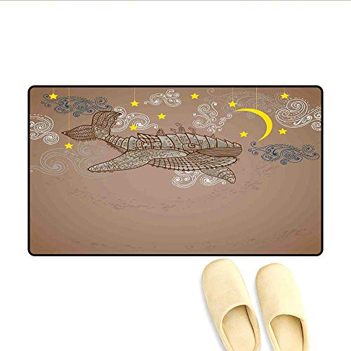Bath Mat Steampunk Whale Flying in The Air with Moons and Stars Artistic Hand Drawing Floor Mat Pattern Brown and White 24