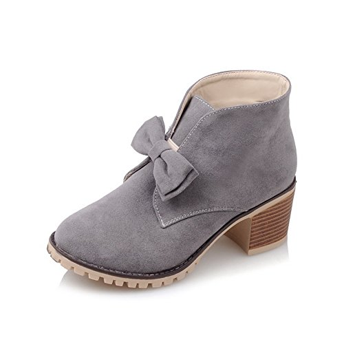 Frosted Gold Womens Boots Pull Chunky Heels BalaMasa Bowknot On Gray Spun Bgnq8nxdC