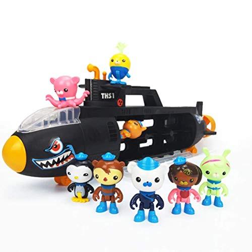 LQT Ltd 55cm Octonauts Black Submarine U-Boat Model with 8pcs Octonauts Figrues Baby Children Best Birthday Gift