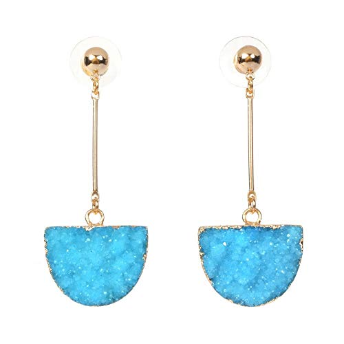 Turquoise Blue Colored Semi Circle Agate Druzy 18K Gold Plated Geometric Drop Long -