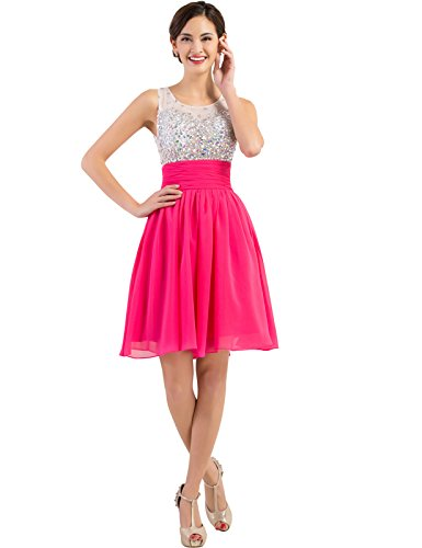 Grace Karin® Hot Pink Chiffon Short Party Dresses with Beadings (16, Hot Pink)