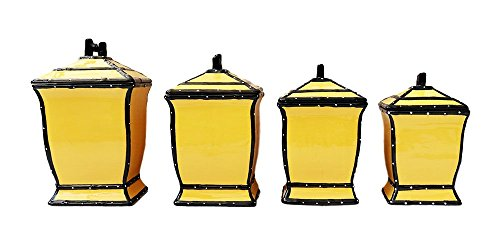 Tuscany Butterscotch Colored, Ruffle 4pc canister Set, 85501 by ACK Fruit Kitchen Canisters