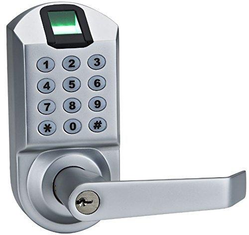 Ardwolf A1 No Drills Needed Keyless Keypad Biometric Fingerprint Door Lock, Unlock with Fingerprint Key Password - Satin Chrome (Password Door Handle compare prices)