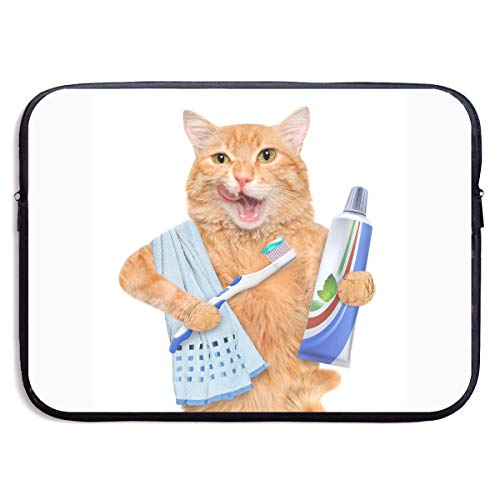 Funny Cat is Brushing Teeth Laptop Sleeve Case Bag Cover for Apple MacBook/Asus/Acer/Samsung/DELL/HP/Lenovo/Sony/RCA Computer 13 -