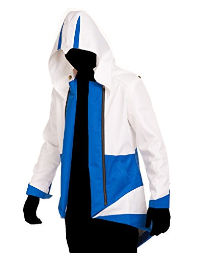 TEENTAGE Men's Costume Hoodie Jacket Cosplay Coat with Attachable Hood,White and Blue,Men-X-Small]()