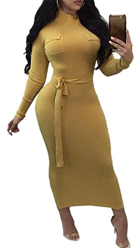 Yellow Bodycon Turtleneck Fashion Long Color Belted Dress Sleeve Women's Jaycargogo Solid 1Uq0vvg