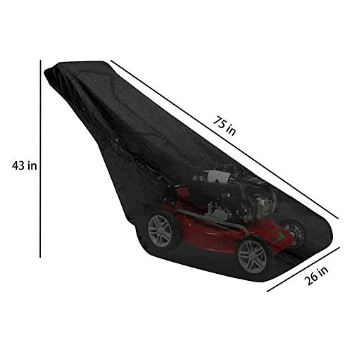 AILELAN Lawn Mower Cover, Premium Oxford Heavy Duty Push Mower Cover,Anti UV&Mildew&Dust&Water Universal Fit Size with Drawstring,Storage Bag and Buckle (210D, Black)