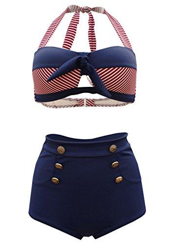 Futurino Womens Nautical Sailor Swimsuit
