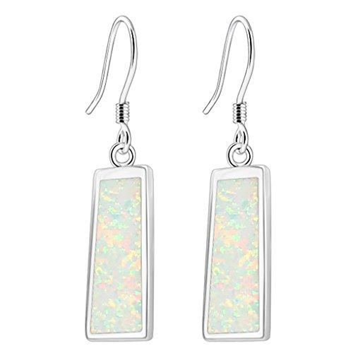 Hermosa Drop Earrings Rose Gold Australian Fire Opal Women Jewelry (Silver- White)